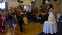 Wedding Fail -- Bouquet Goes Up ... Baby Goes Down