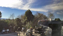 Denver Broncos -- Team Bus Clips CHP Motorcycle Escort