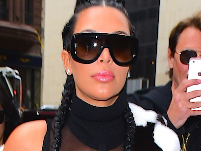 WHOA! You Gotta See Kim's Boob-Baring Outfit Today In NYC -- and Post-Baby Bod!